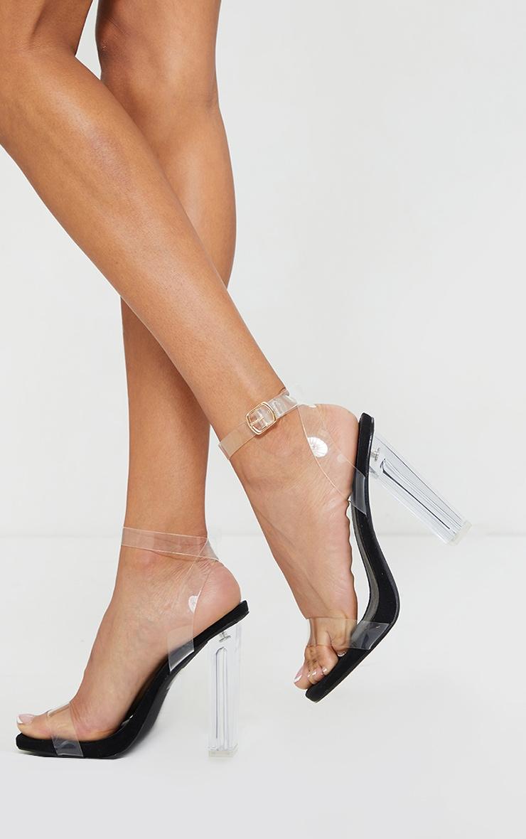 Black Wide Fit Clear High Block Heel Strappy Heel Sandals 1