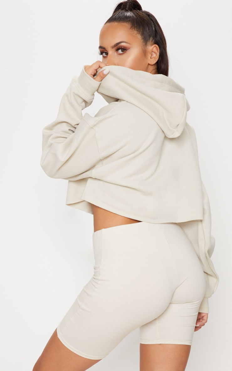 Sand Ultimate Oversized Crop Hoodie  2