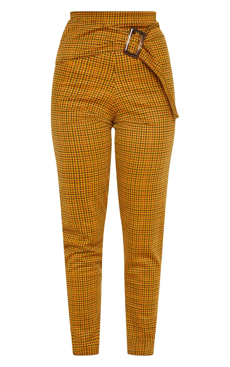 Petite Mustard Checked Rectangle Tortoise Belt Trousers 3