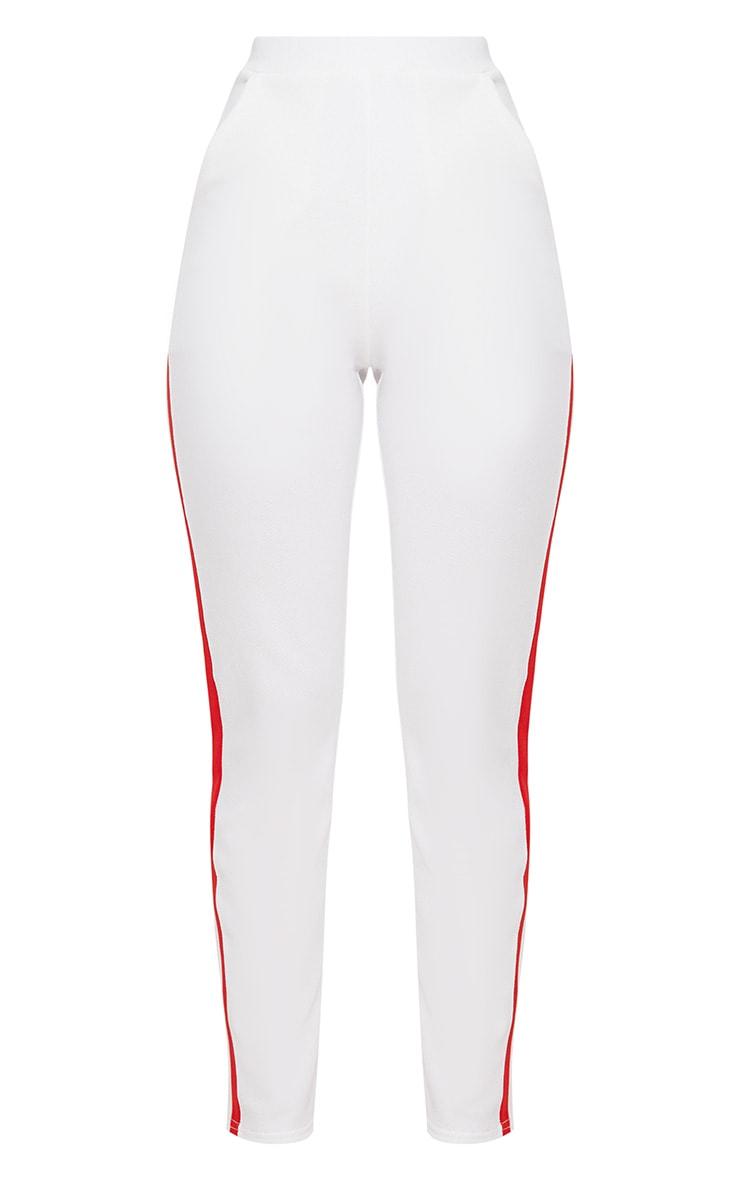White Sport Stripe Cigarette Trousers  3