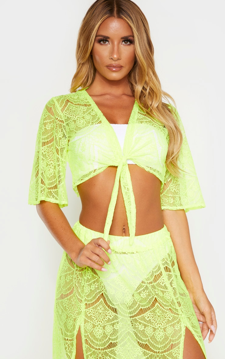 Neon Yellow Lace Tie Front Beach Top 1