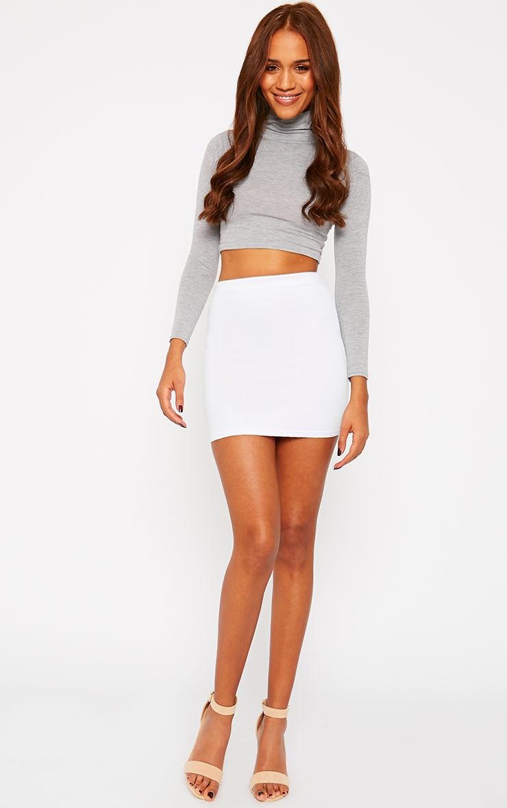 Basic White Scuba Mini Skirt 1