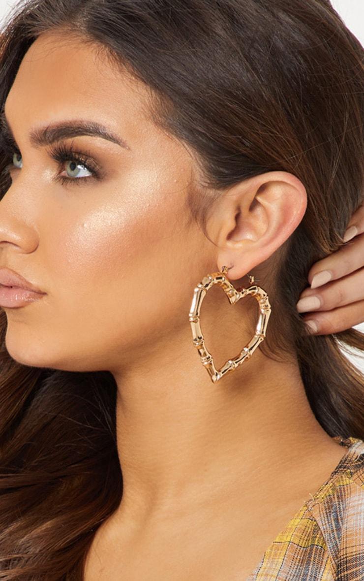 Gold Bamboo Heart Earrings 1