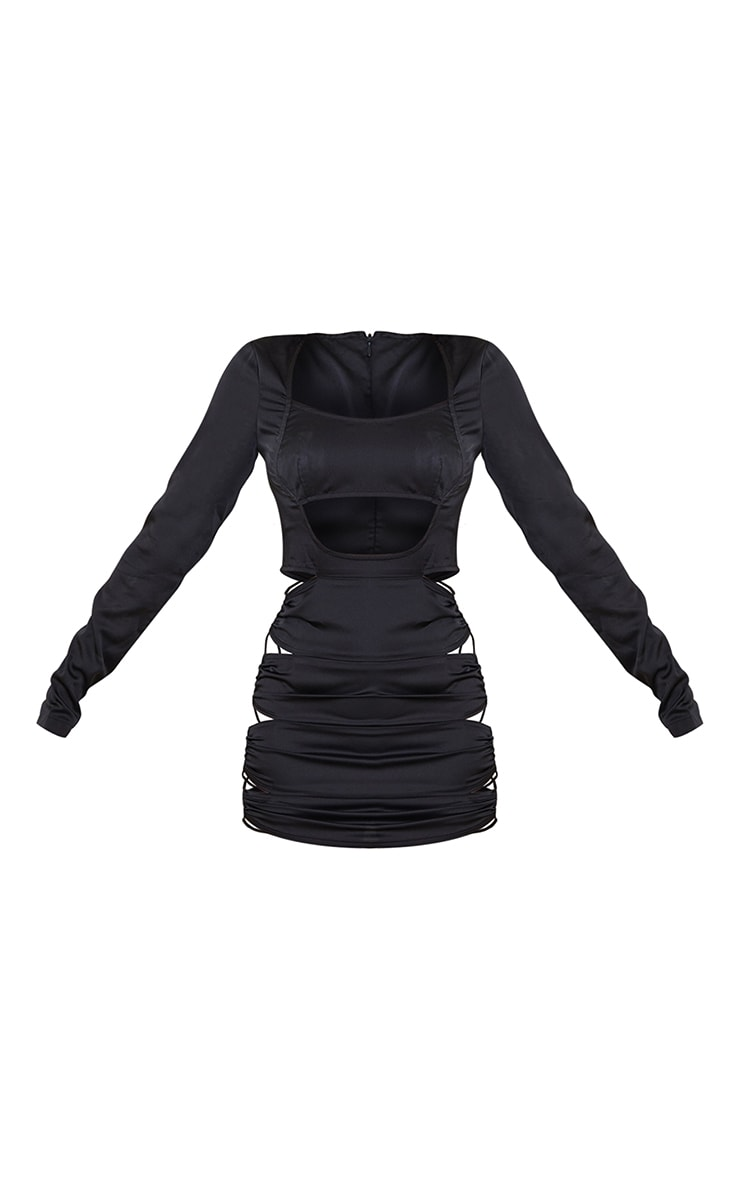 Black Satin Hip Cut Out Long Sleeve Bodycon Dress 5