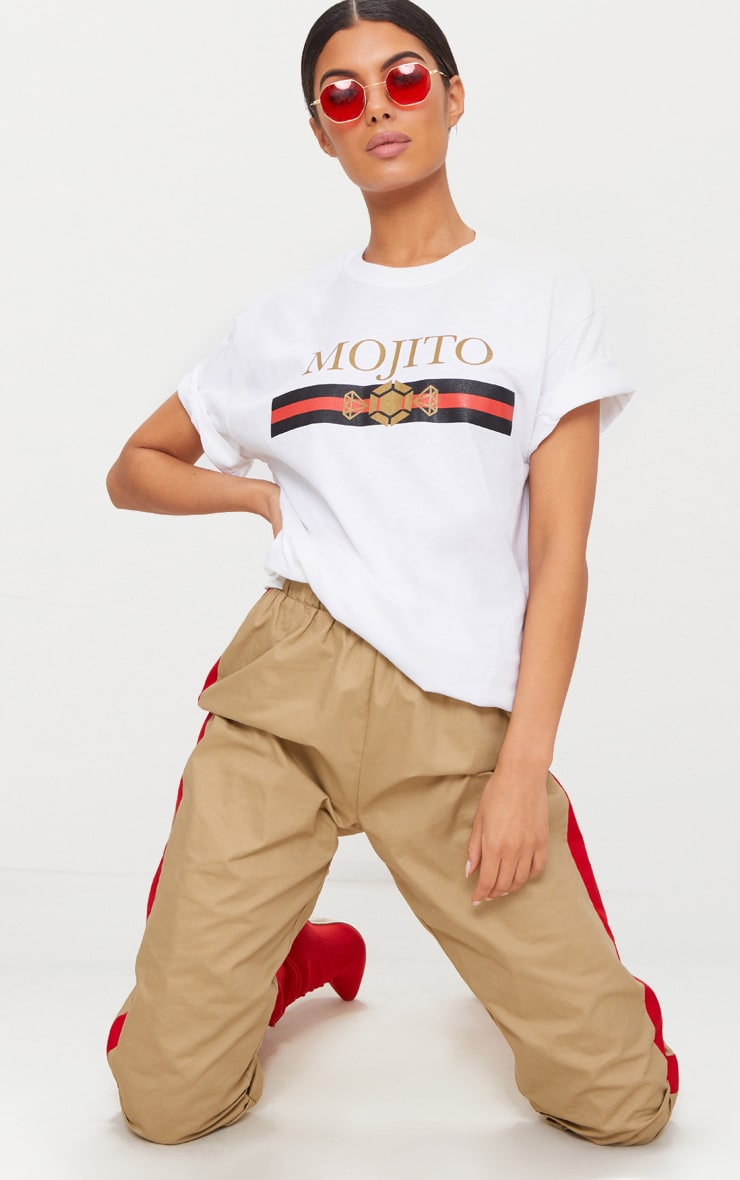 White Mojito Slogan Oversized T Shirt 1