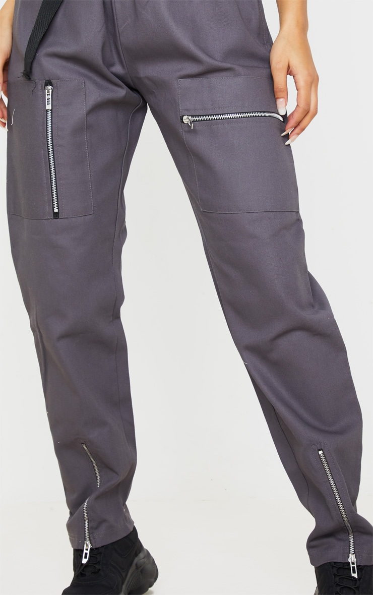 Charcoal Belted Woven Cargo Pants 5