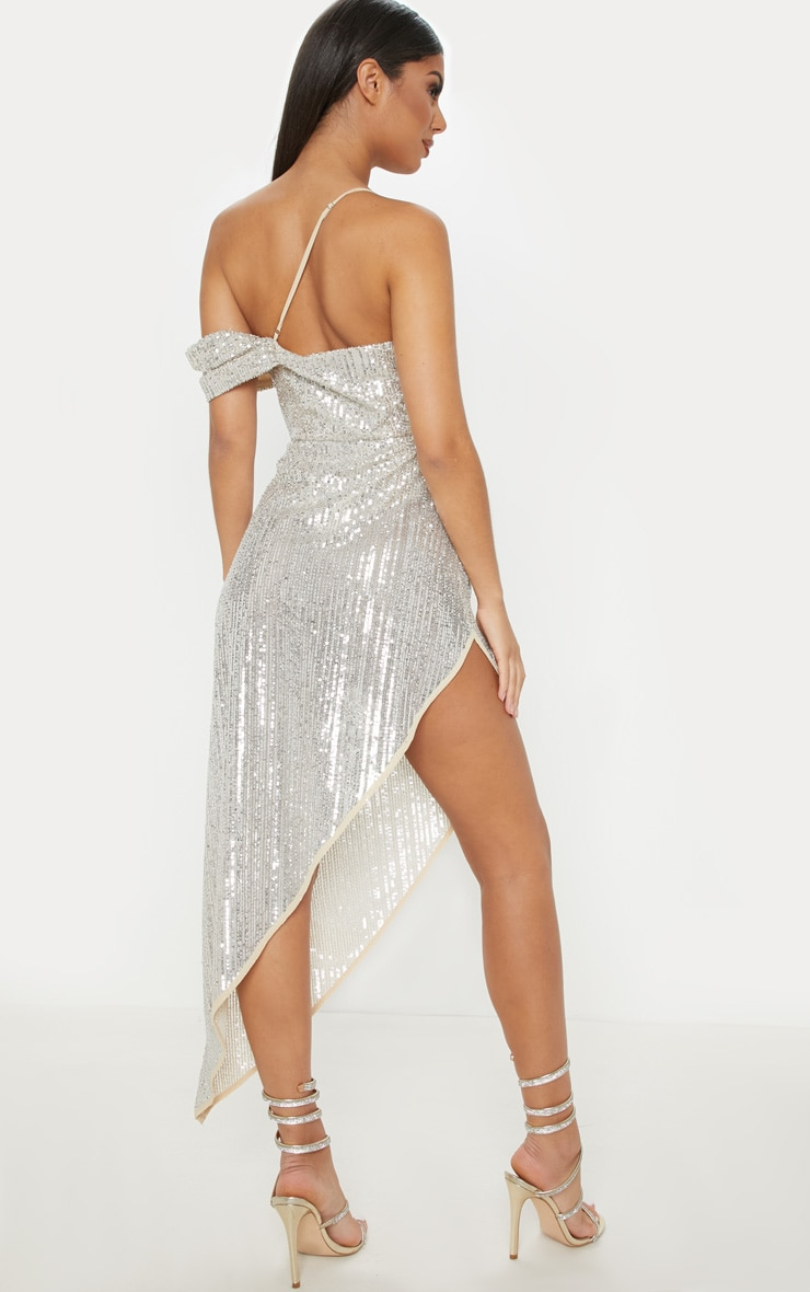 Silver Sequin Off The Shoulder Midi Dress  2