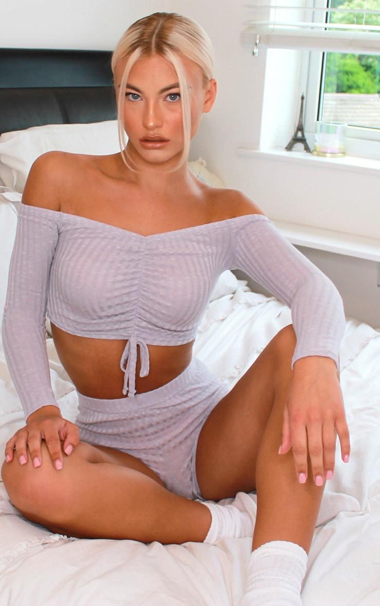 Grey Ruched Bardot Rib Knitted Short Set 3