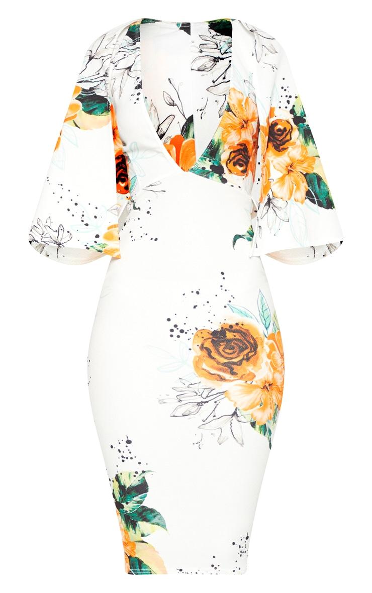 White Floral Plunge Cape Detail Midi Dress 3