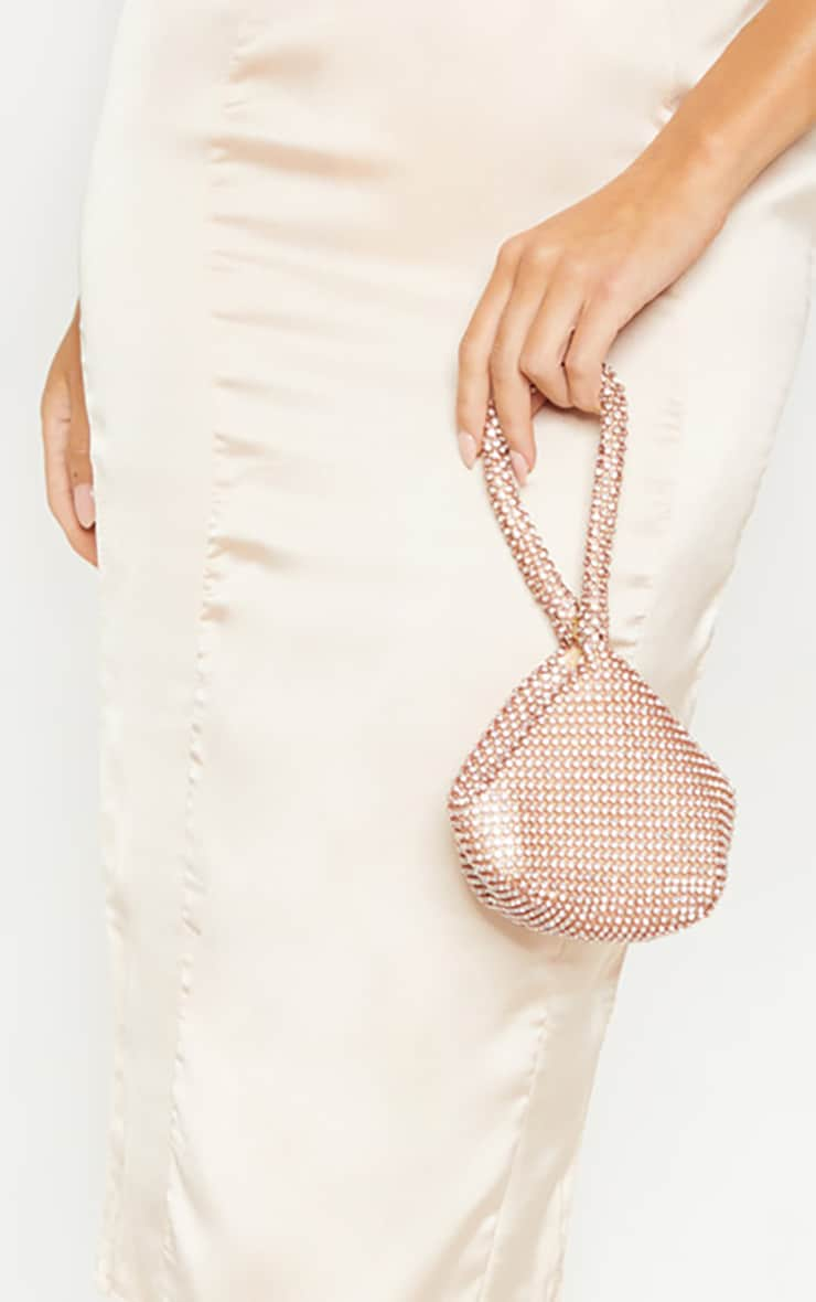 Rose Gold Diamante Chainmail Pouch 1
