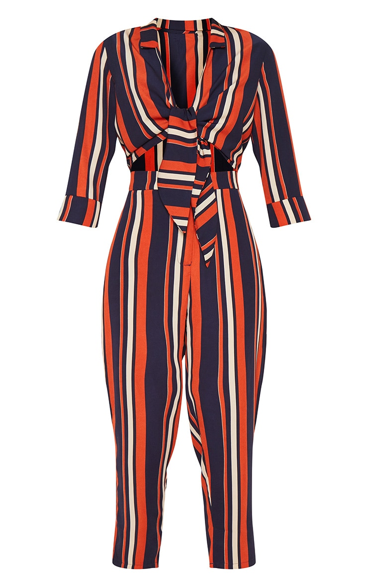 Burnt Orange Stripe Tie Detail Jumpsuit 3