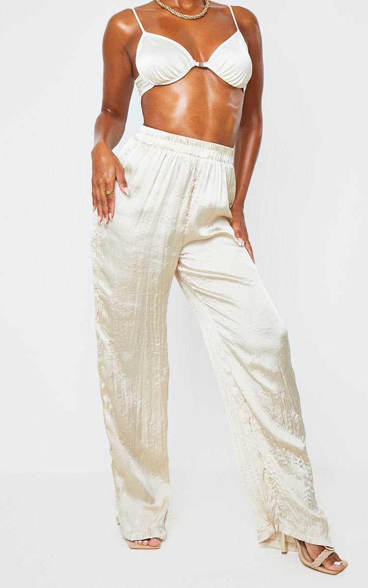 Cream Crinkle Effect Wide Leg Pants 2