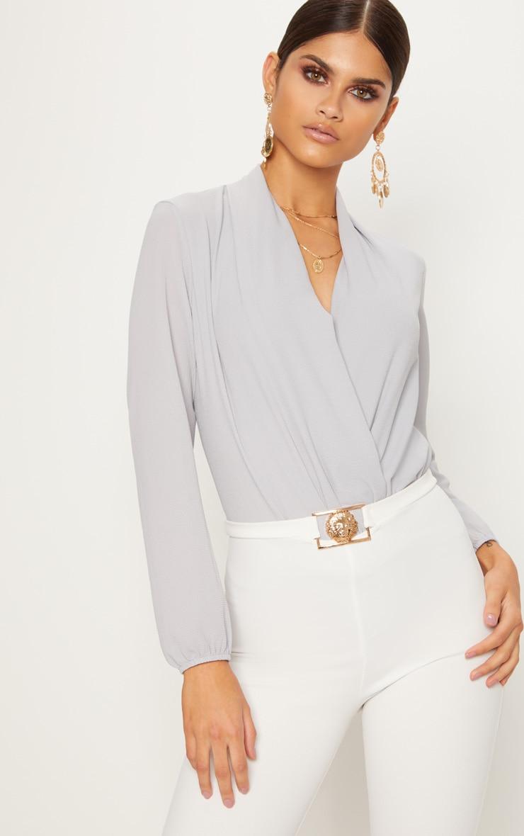 Grey Crepe Wrap Bodysuit by Prettylittlething