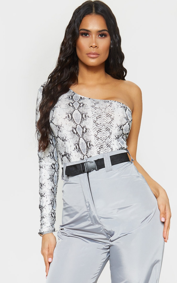 Grey Snake Printed One Shoulder Jersey Long Sleeve Bodysuit 1