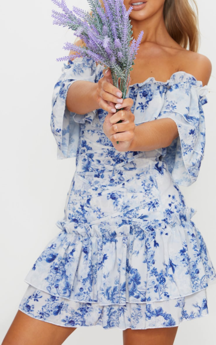 Blue Floral Print Lace Up Bardot Bodycon Dress 5