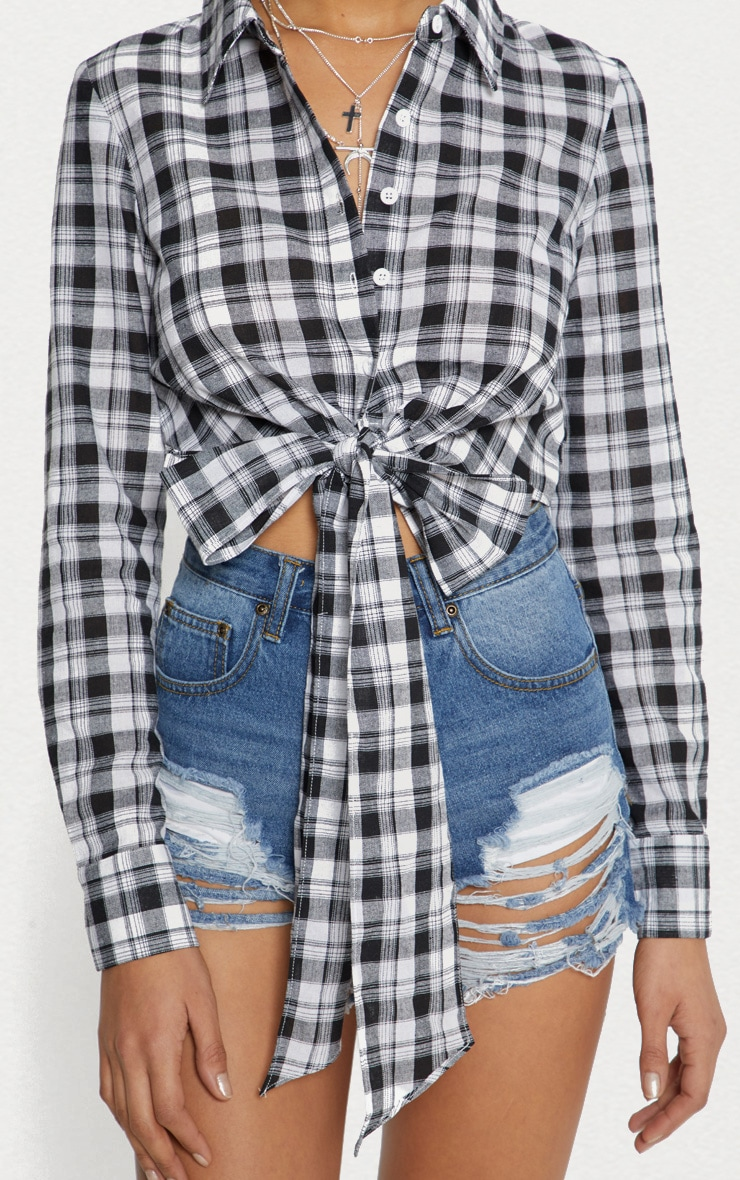 Black Crop Check Tie Front Shirt  5