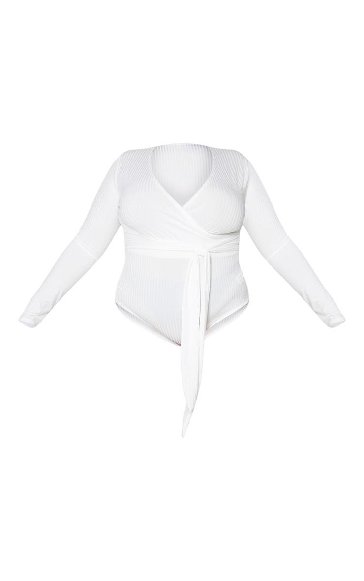 Plus Cream Ribbed Tie Waist Bodysuit 5