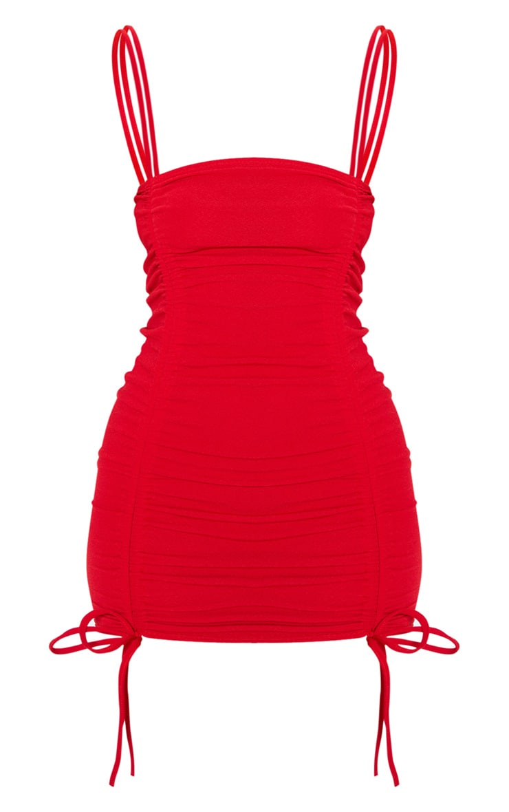 Red Ruched Front Strappy Bodycon Dress 3