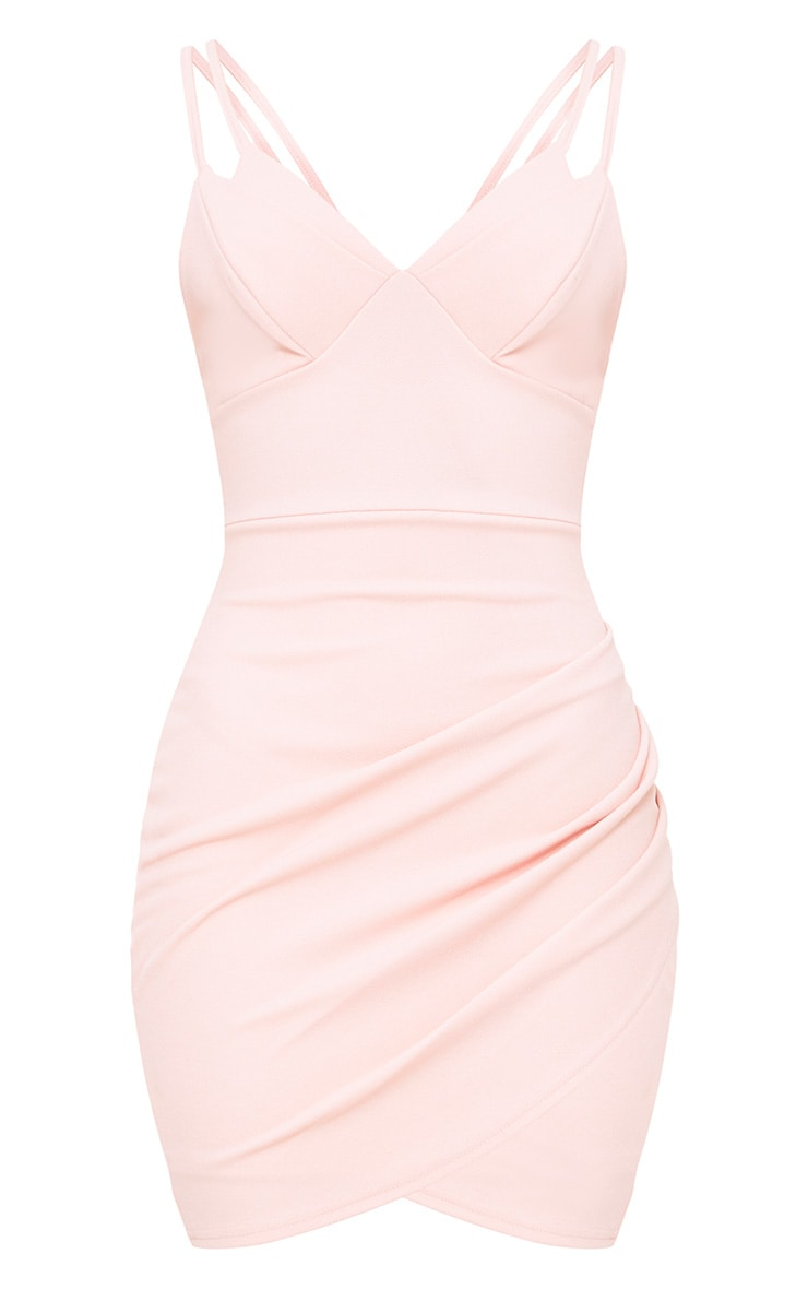 Pale Nude Double Strap Bodycon Dress 3