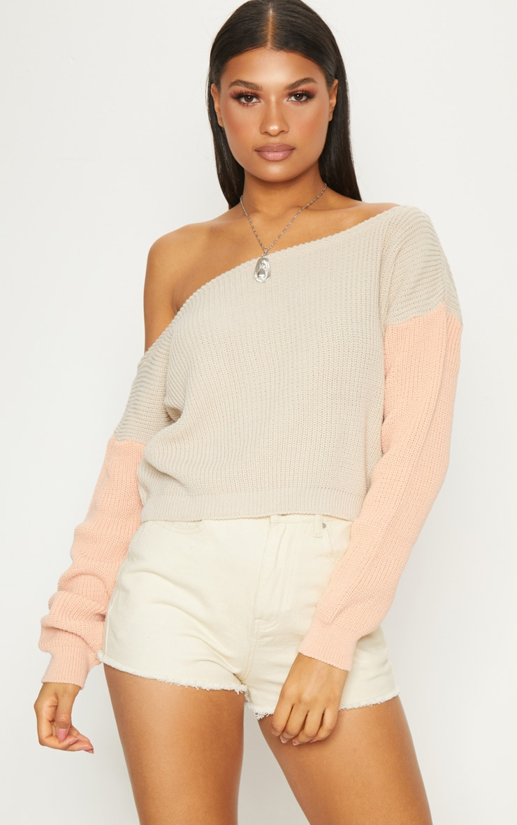 Stone Off Shoulder Cropped Colour Block Jumper 4