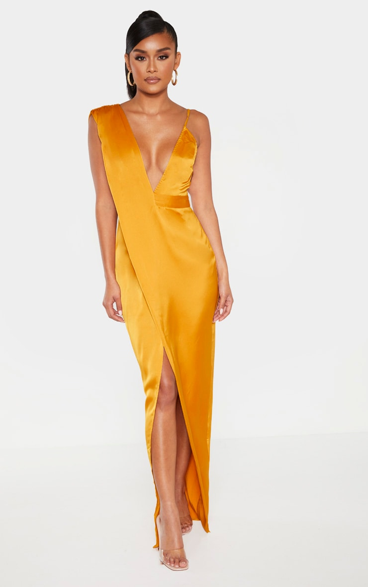 Mustard Asymmetric Drape Detail Maxi Dress 1