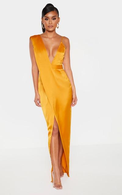Mustard Asymmetric Drape Detail Maxi Dress