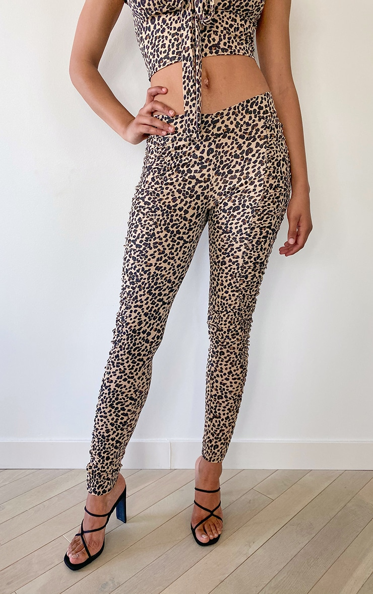Tall Brown Leopard Ruched Front Seam Leggings 2