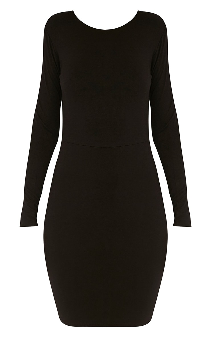 Marcy Black Strappy Back Long Sleeve Bodycon dress 6