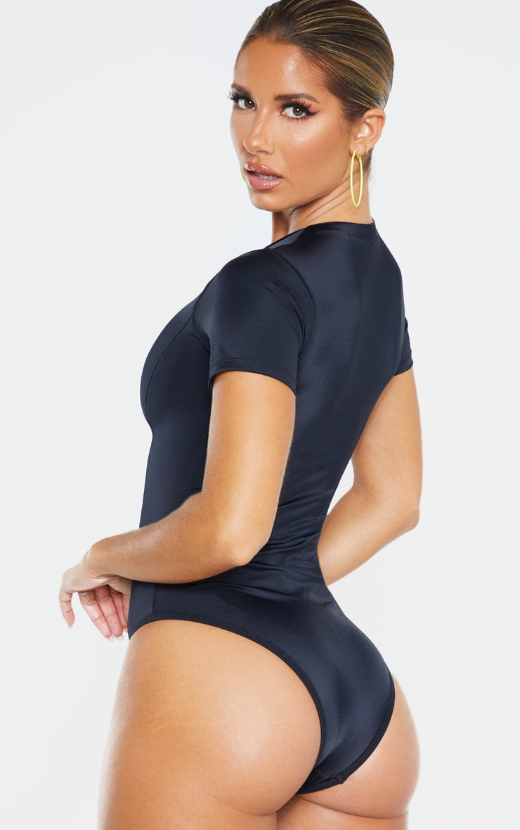 Black Recycled Fabric Zip Front Tshirt Swimsuit 2