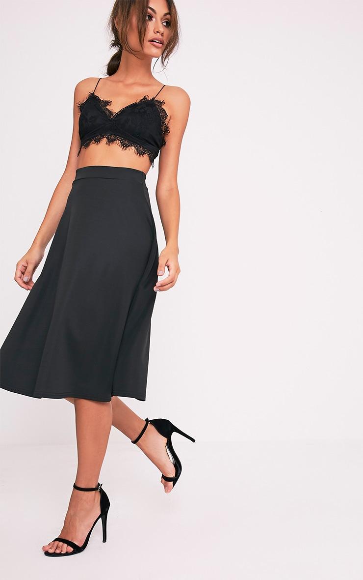 Kasey Black Full A-Line Midi Skirt 1