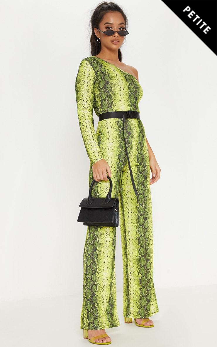 Petite Neon Green Snake Print One Shoulder Jumpsuit