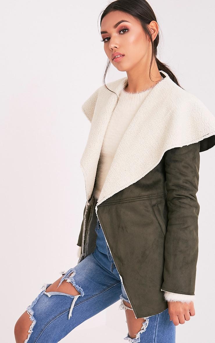 Irise Khaki Faux Suede Shearling Aviator Style Coat 3