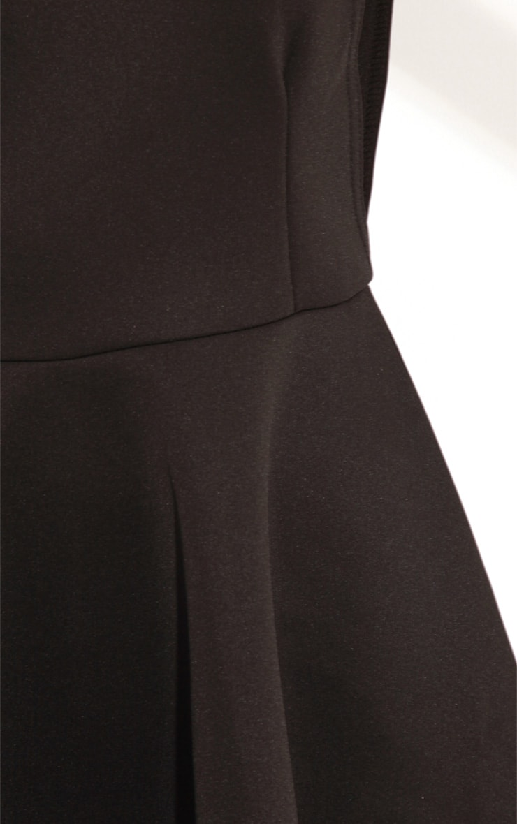 Arianna Black Scuba Side Slit Skater Dress 5