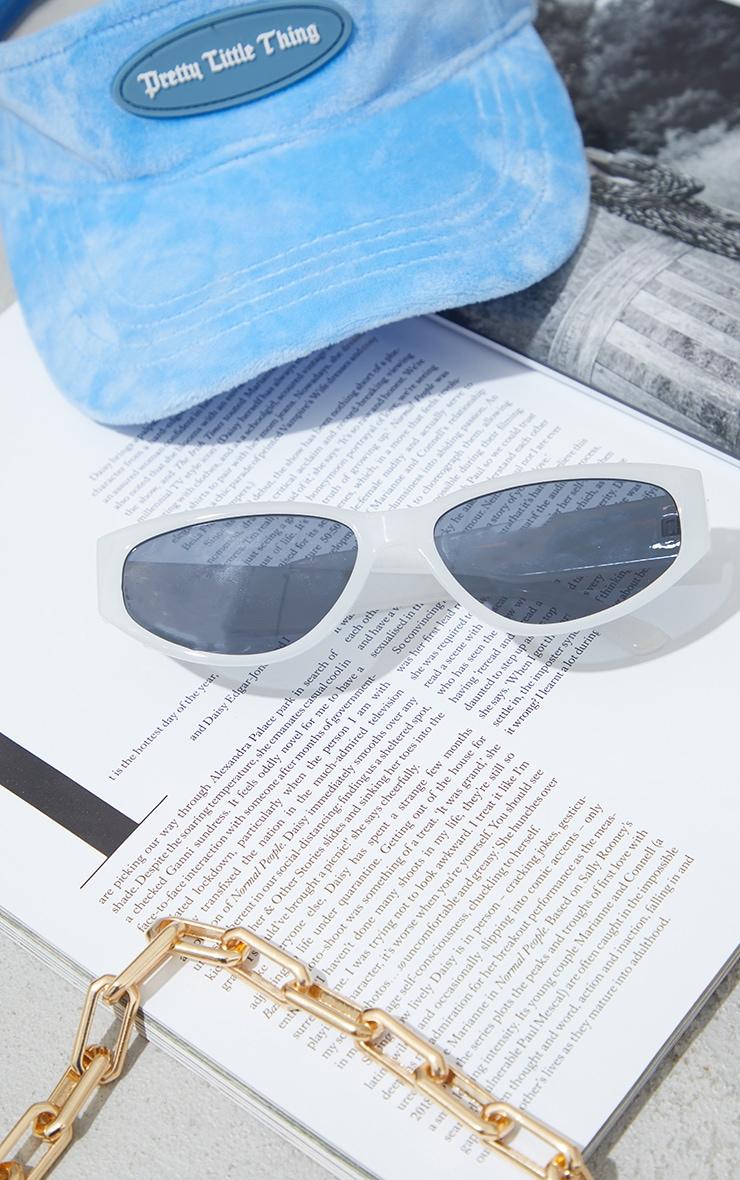 White Slimline Square Sunglasses 1