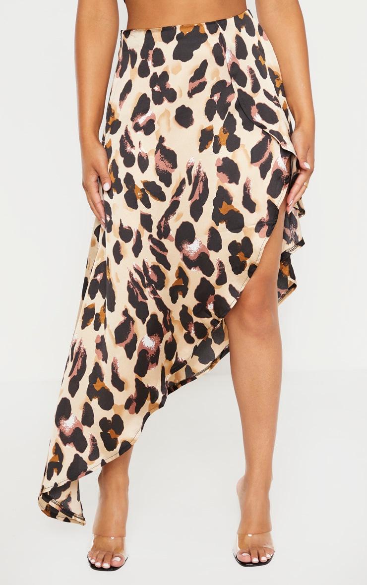 Petite Tan Leopard Print Satin Asymmetric Skirt 2