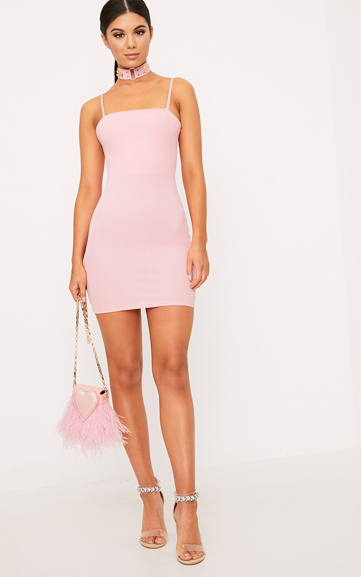 Pink Straight Neck Bandage Bodycon Dress 5