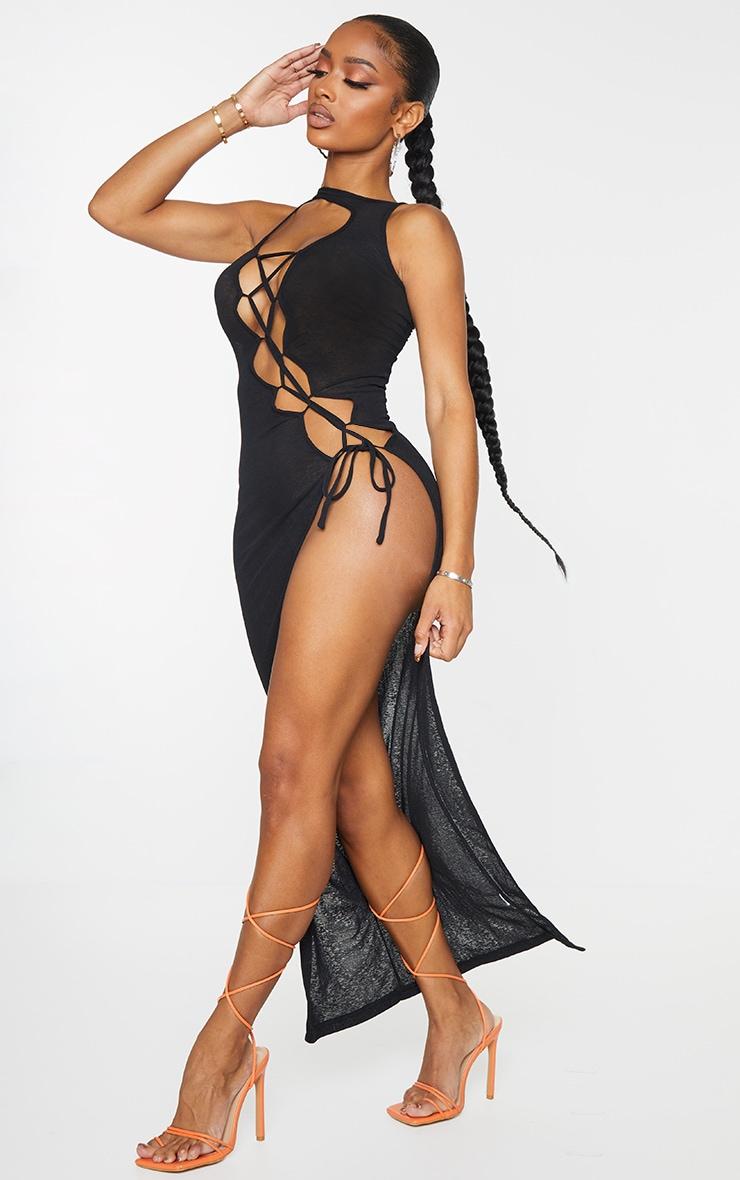 Shape Black Sheer Knit Lace Up Maxi Dress 3