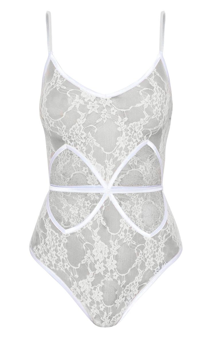 White Diamond Cut Out Lace Body  3