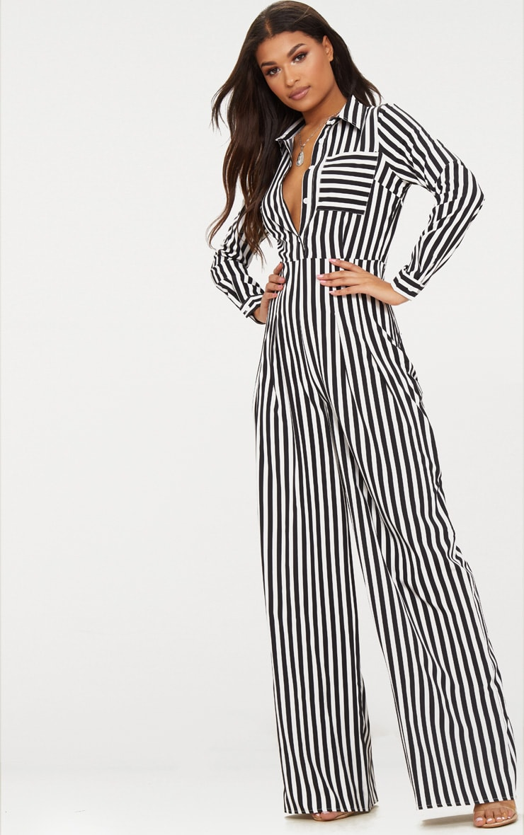 Black Button Striped Long Sleeve Through Jumpsuit 1