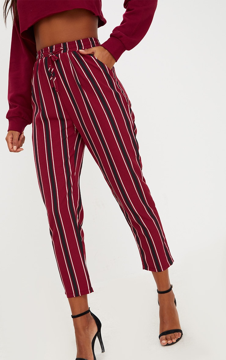 Burgundy Multi Stripe Casual Trousers 5