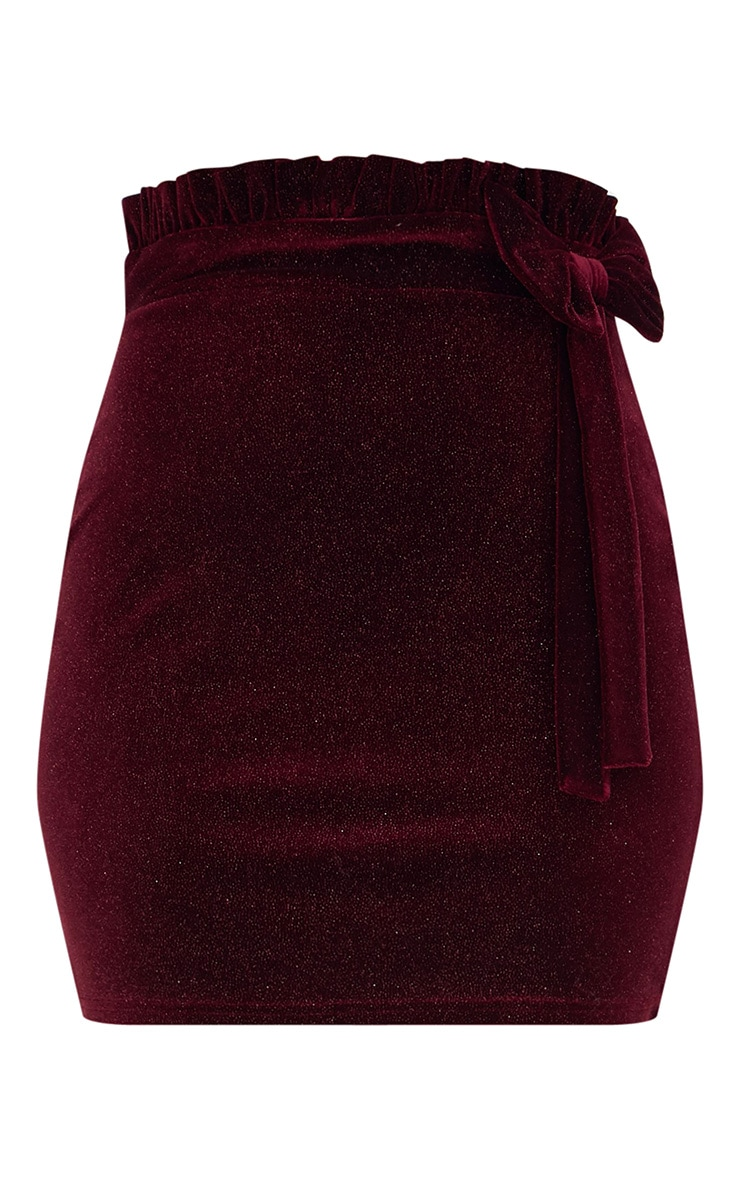 Burgundy Velvet Glitter Paper Bag Bow Mini Skirt 3