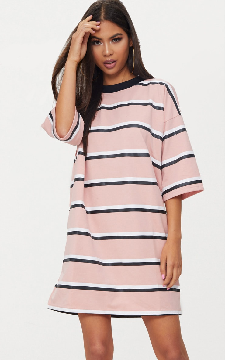 Pink Striped Oversized Boyfriend T Shirt Dress 1
