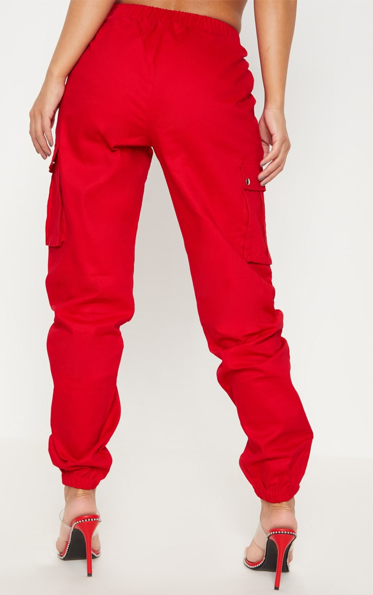 Petite Red Pocket Detail Cargo Trousers 4