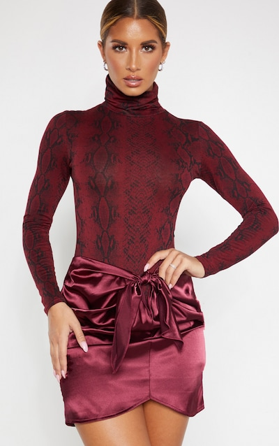 Burgundy Satin Knot Front Mini Skirt