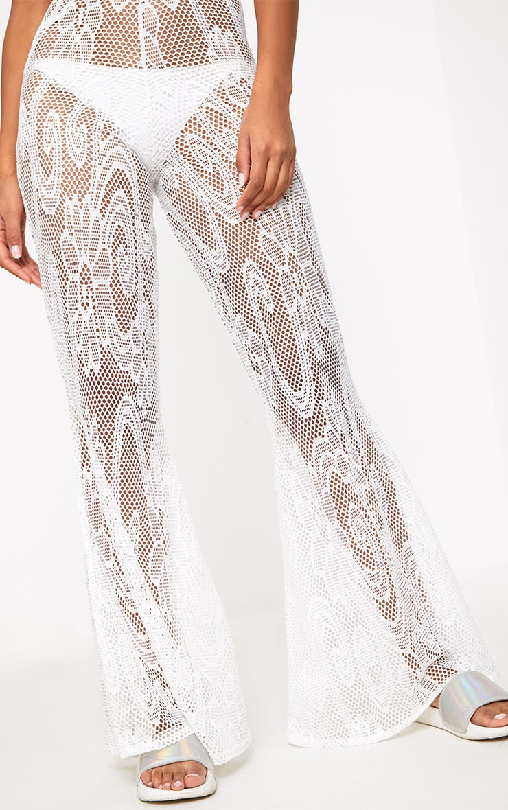 White Flared Crochet Beach Trousers 5