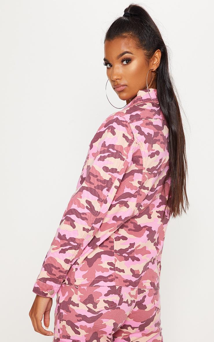 Pink Camo Trucker Denim Jacket  2