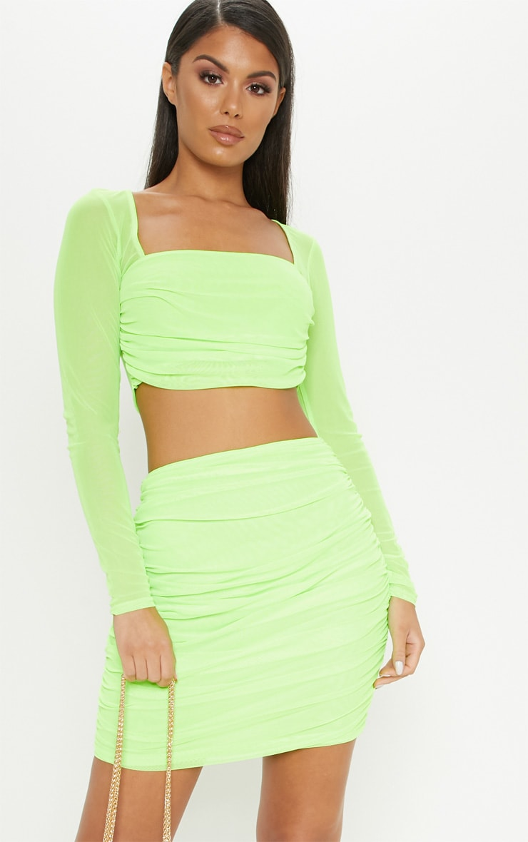 Neon Green Mesh Square Neck Crop Top 1