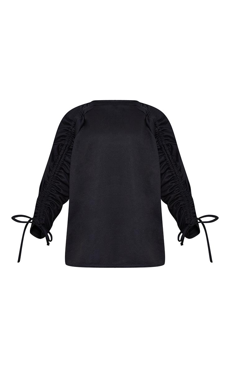 Petite Black Ruched Sleeve Oversized Sweater 5