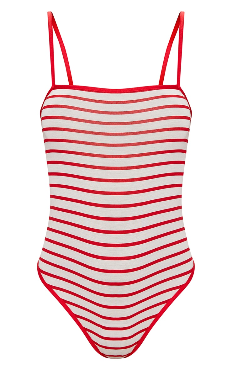 Red Jersey Stripe Strappy Thong Bodysuit 3