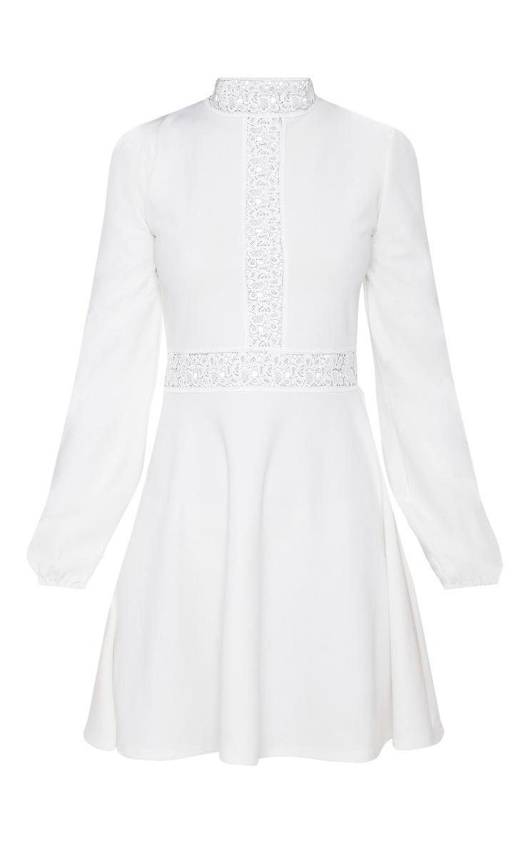 White Trim Detail Skater Dress 3